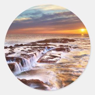 Beautiful Sunset Beach Ocean Waves Round Stickers