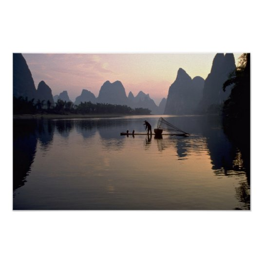 Beautiful Sunset: Crossing the River Li, Guilin, C