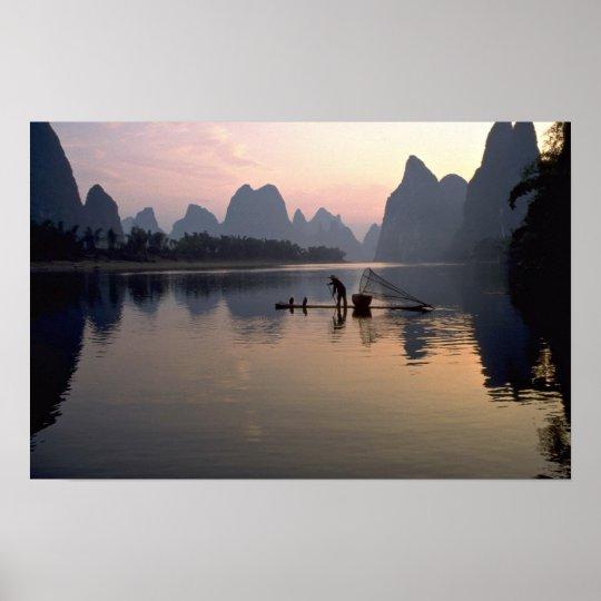 Beautiful Sunset: Crossing the River Li, Guilin, C