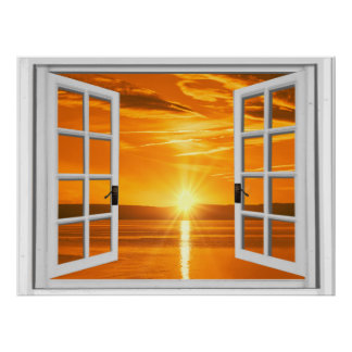 Beautiful Sunset Faux Window View Poster