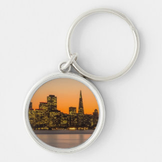 Beautiful sunset in San Francisco Silver-Colored Round Key Ring