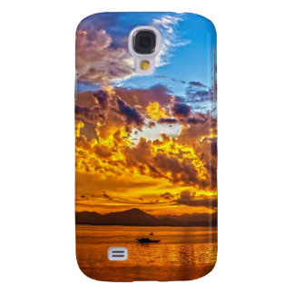 Beautiful Sunset over Lake with Boat Galaxy S4 Case