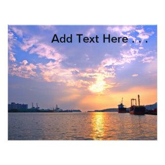 "Beautiful Sunset Over Ocean with Harbor Scene 8.5"" X 11"" Flyer"