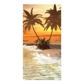 Beautiful sunset over the beach, photo greeting card