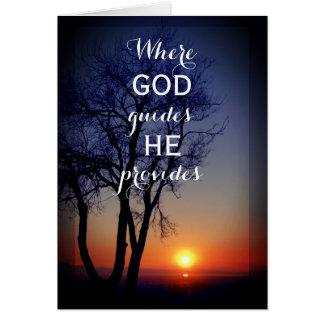 "Beautiful Sunset Religious ""God Provides"" Card"