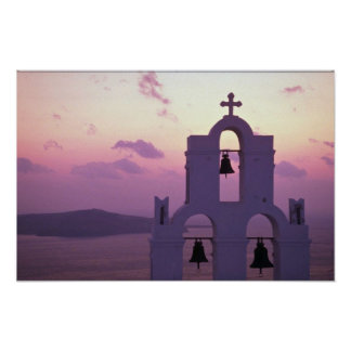 Beautiful Sunset: Santorini Fira at sunset, Greece Poster