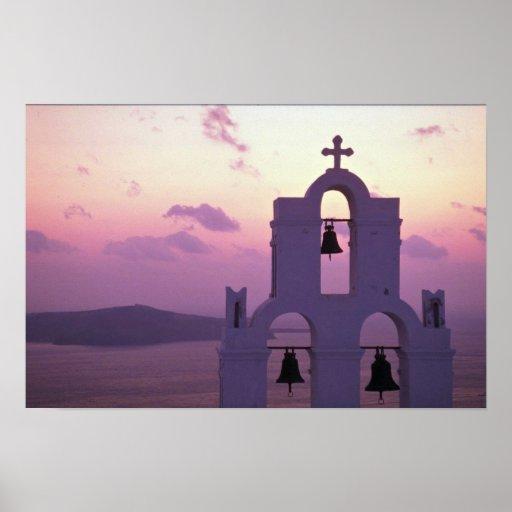 Beautiful Sunset: Santorini Fira at sunset, Greece Posters