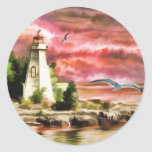 Beautiful Sunset Sky And Lighthouse Round Sticker