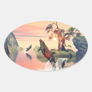 Beautiful sunset oval sticker