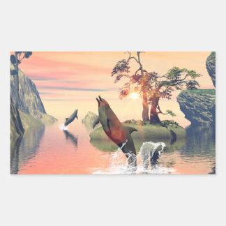 Beautiful sunset rectangular sticker