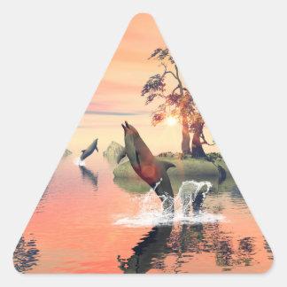 Beautiful sunset triangle sticker