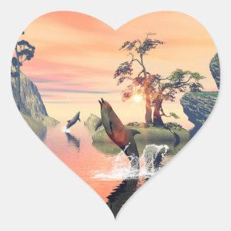 Beautiful sunset heart sticker