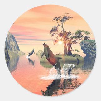 Beautiful sunset round sticker