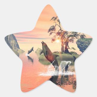 Beautiful sunset star sticker