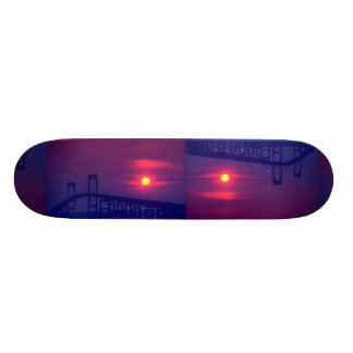 Beautiful Sunset: Sun setting over a bridge, Newpo Custom Skateboard