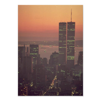 Beautiful Sunset: Sunset on the World Trade Center 5x7 Paper Invitation Card