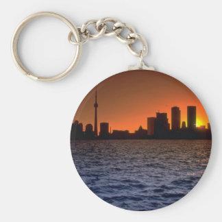 Beautiful Sunset: Toronto skyline at sunset, Ontar Basic Round Button Key Ring