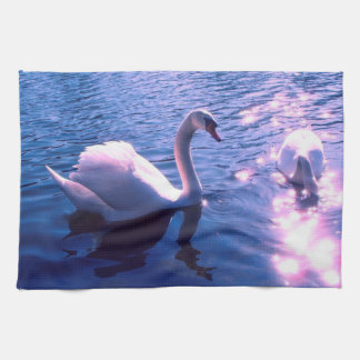 Beautiful swan in lake tea towel