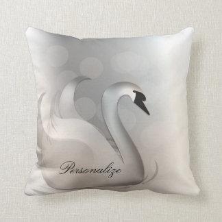 Beautiful Swan White & Silver Elegant Custom Chic Throw Pillow