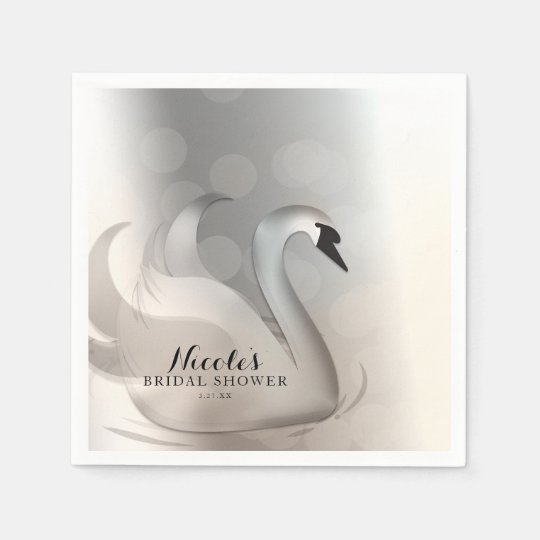 Beautiful Swan White & Silver Elegant Custom Party Disposable Napkin