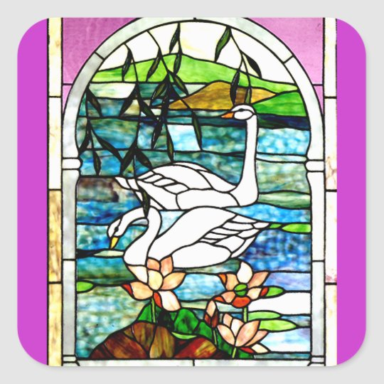 Beautiful Swans Stained Glass Art Square Sticker