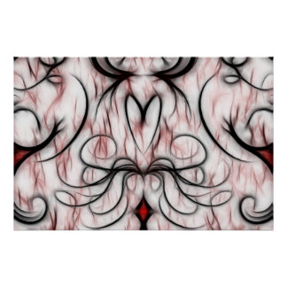 Beautiful Swirly Red and Black Fractal Design Print