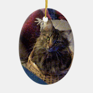 Beautiful Tabby Maine Coon Kitty Cat in a Basket Ceramic Oval Decoration