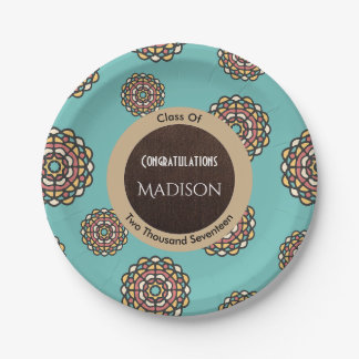 Beautiful Teal Abstract Graduation 7 Inch Paper Plate