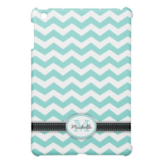 Beautiful Teal Blue & White Chevron with monogram Case For The iPad Mini