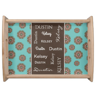 Beautiful Teal & Brown w/Names Serving Tray