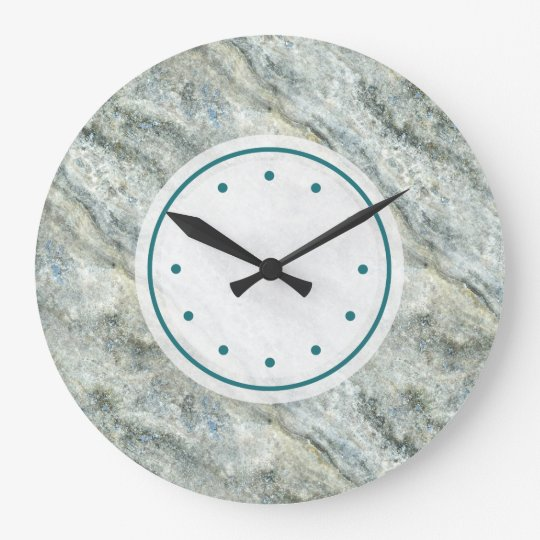Beautiful Teal Coloured Marble Stone Large Clock