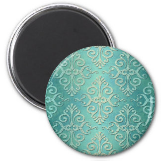 Beautiful Teal Green Distressed Damask Magnets