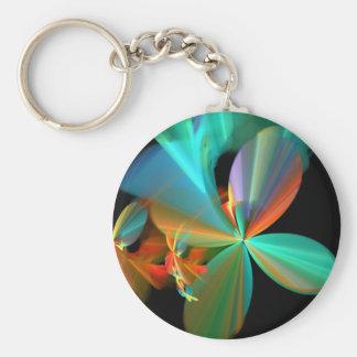 Beautiful Teal & Orange Fractal Art Flower Petals Basic Round Button Key Ring