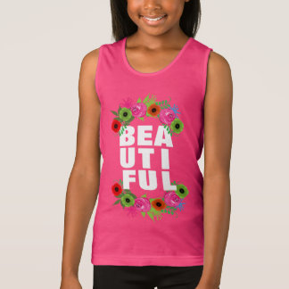 Beautiful Text And Summer Flowers Pretty Graphic Tank Top