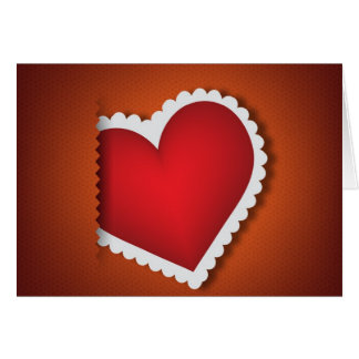 Beautiful textile heart - Valentine s Day Greeting Card