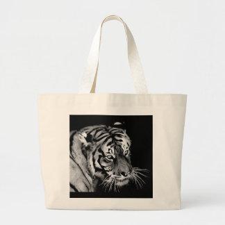 Beautiful Tiger Black White Africa Large Tote Bag