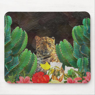 Beautiful Tiger Cactus Floral Oil Painting Mouse Pad