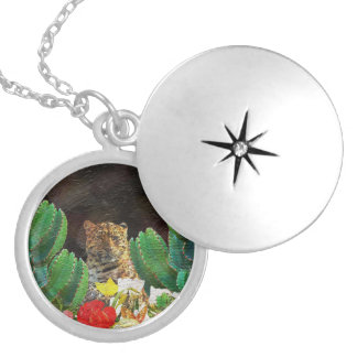 Beautiful Tiger Cactus Floral Oil Painting Round Locket Necklace