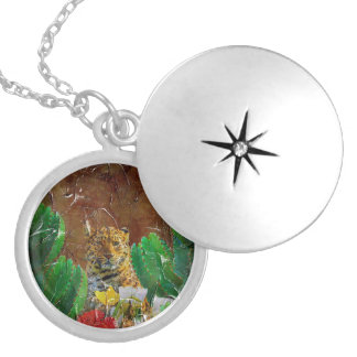 Beautiful Tiger Floral Palette Oil Round Locket Necklace