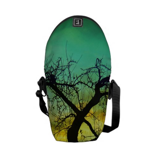 Beautiful Tree Silhouette at Sunset Ombre Aqua Courier Bag