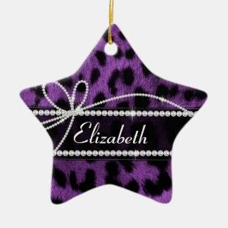 Beautiful trendy faux purple leopard animal print ceramic star decoration
