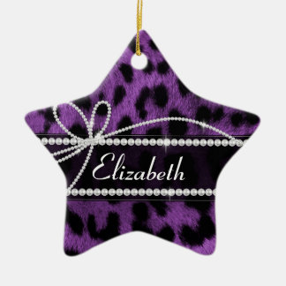 Beautiful trendy faux purple leopard animal print christmas ornament