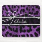 Beautiful trendy faux purple leopard animal print mouse mat