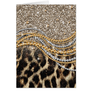 Beautiful trendy girly leopard animal print greeting card
