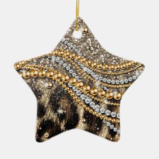 Beautiful trendy girly leopard animal print christmas ornament