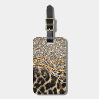 Beautiful trendy girly leopard animal print luggage tag