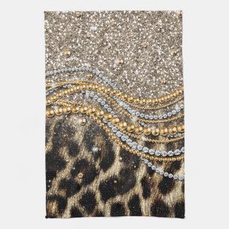 Beautiful trendy girly leopard animal print tea towel
