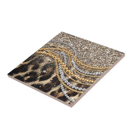 Beautiful trendy girly leopard animal print tile