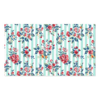 Beautiful trendy girly vintage blue stripes roses business card templates