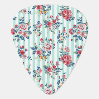 Beautiful trendy girly vintage blue stripes roses guitar pick